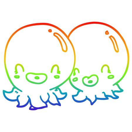 rainbow gradient line drawing of a two cartoon octopi Archivio Fotografico - 128321112