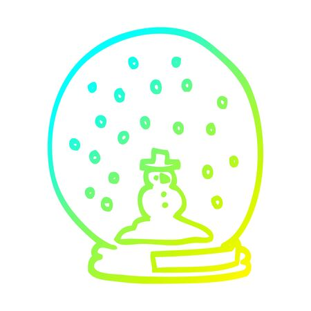 cold gradient line drawing of a cartoon snowglobe