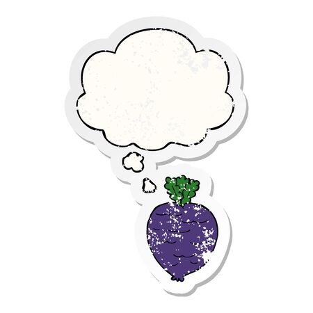 cartoon root vegetable with thought bubble as a distressed worn sticker Ilustração