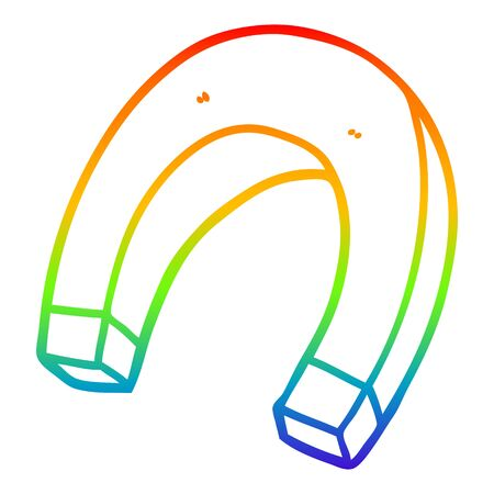 rainbow gradient line drawing of a cartoon magnet Stok Fotoğraf - 128328464