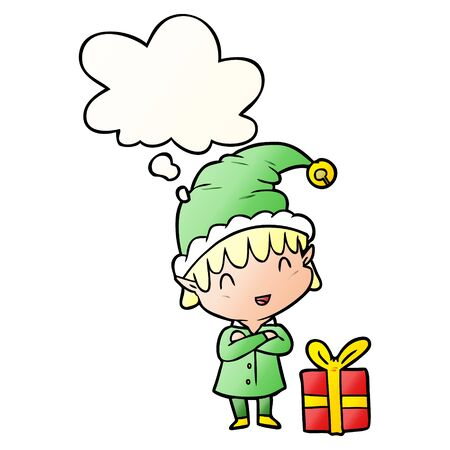 cartoon happy christmas elf with thought bubble in smooth gradient style
