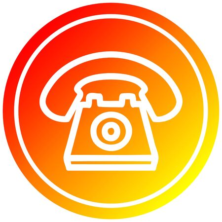 old telephone circular icon with warm gradient finish Illustration
