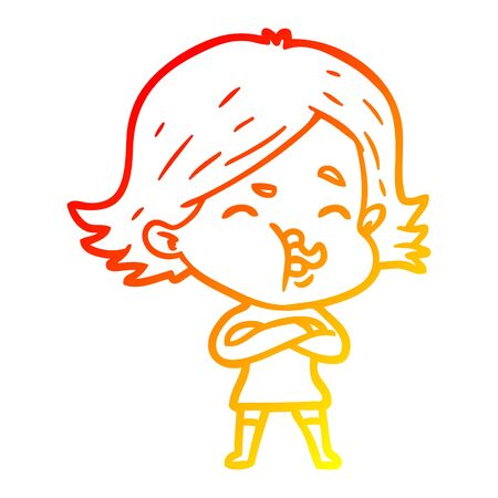warm gradient line drawing of a cartoon girl pulling face Illustration