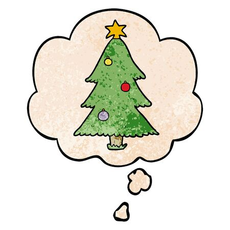 cartoon christmas tree with thought bubble in grunge texture style Illustration