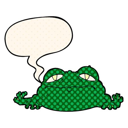 cartoon ugly frog with speech bubble in comic book style  イラスト・ベクター素材