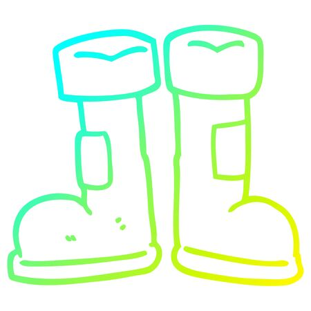 cold gradient line drawing of a cartoon wellington boot