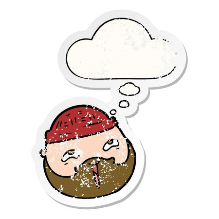 cartoon male face with beard with thought bubble as a distressed worn sticker