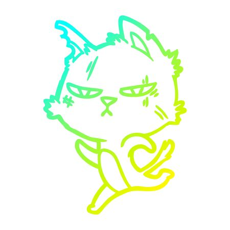 cold gradient line drawing of a tough cartoon cat running