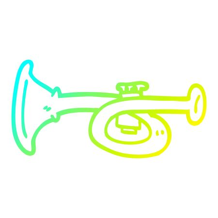 cold gradient line drawing of a cartoon metal trumpet  イラスト・ベクター素材