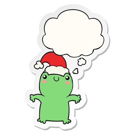 cute cartoon frog wearing christmas hat with thought bubble as a printed sticker Banque d'images - 128328572