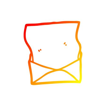 warm gradient line drawing of a cartoon letter and envelope
