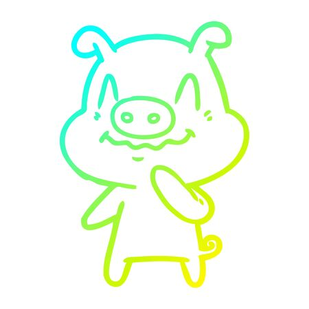 cold gradient line drawing of a nervous cartoon pig