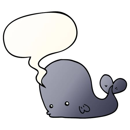 cartoon whale with speech bubble in smooth gradient style