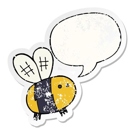cartoon bee with speech bubble distressed distressed old sticker