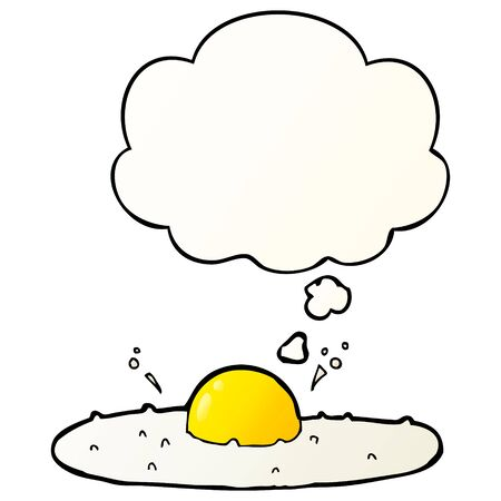 cartoon fried egg with thought bubble in smooth gradient style Stock Illustratie