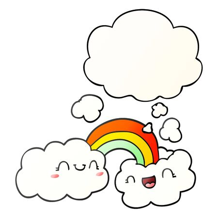 happy cartoon clouds and rainbow with thought bubble in smooth gradient style