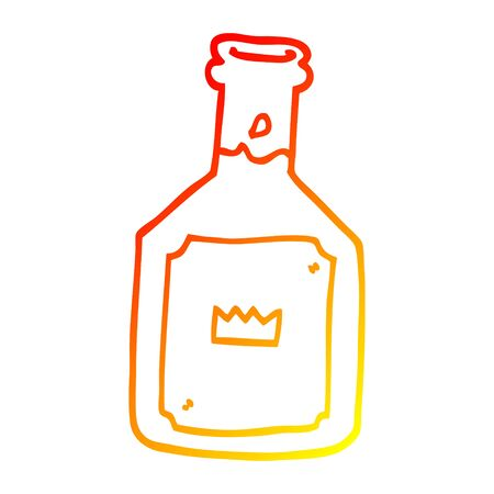 warm gradient line drawing of a cartoon alcoholic drink  イラスト・ベクター素材