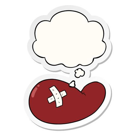 cartoon injured gall bladder with thought bubble as a printed sticker Illustration