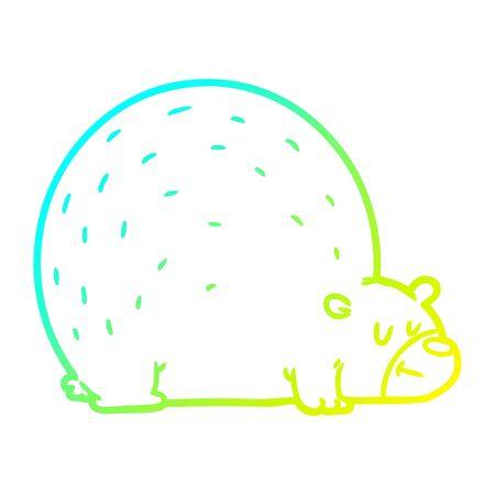 cold gradient line drawing of a cartoon bear Ilustração