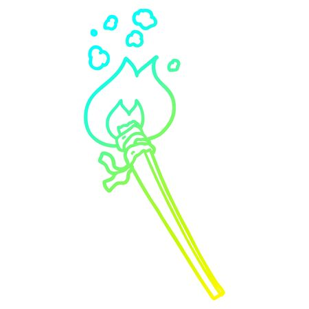 cold gradient line drawing of a cartoon burning torch Illusztráció