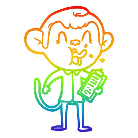 rainbow gradient line drawing of a crazy cartoon monkey manager Illustration