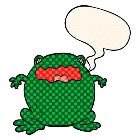 cartoon toad with speech bubble in comic book style Banque d'images - 128321165