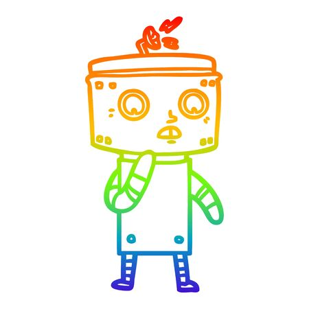 rainbow gradient line drawing of a uncertain cartoon robot