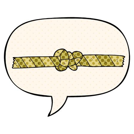 cartoon knotted rope with speech bubble in comic book style Banque d'images - 128321141