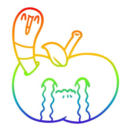 rainbow gradient line drawing of a cartoon worm eating an apple