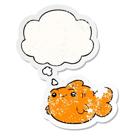 cartoon fish with thought bubble as a distressed worn sticker