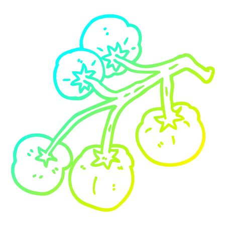 cold gradient line drawing of a cartoon tomatoes on vine