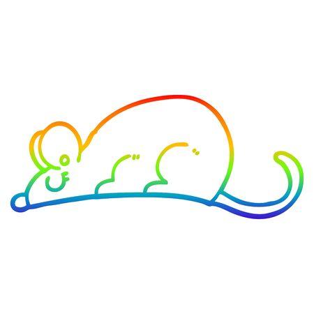 rainbow gradient line drawing of a cartoon rat Illustration