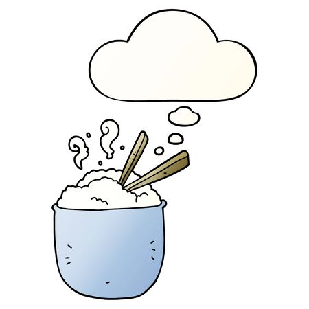cartoon bowl of rice with thought bubble in smooth gradient style