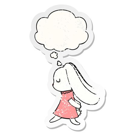 cute cartoon rabbit with thought bubble as a distressed worn sticker Ilustracja