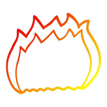 warm gradient line drawing of a cartoon fire Çizim