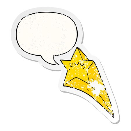cartoon shooting star with speech bubble distressed distressed old sticker Illusztráció