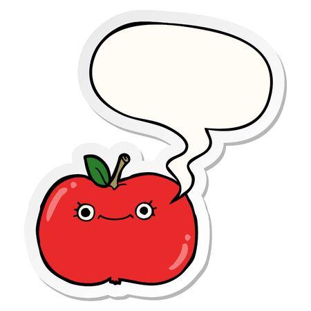 cute cartoon apple with speech bubble sticker Ilustração