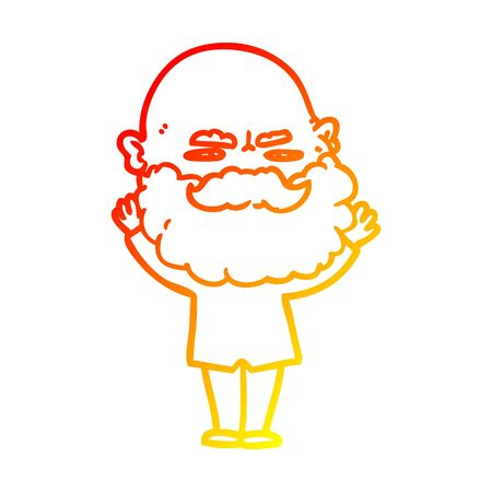 warm gradient line drawing of a cartoon man with beard frowning Иллюстрация