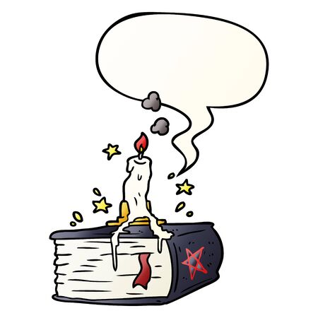 cartoon spooky spellbook with dribbling candle with speech bubble in smooth gradient style
