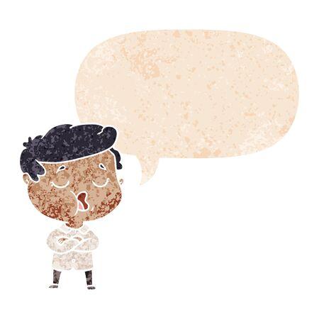cartoon man talking with speech bubble in grunge distressed retro textured style Illusztráció