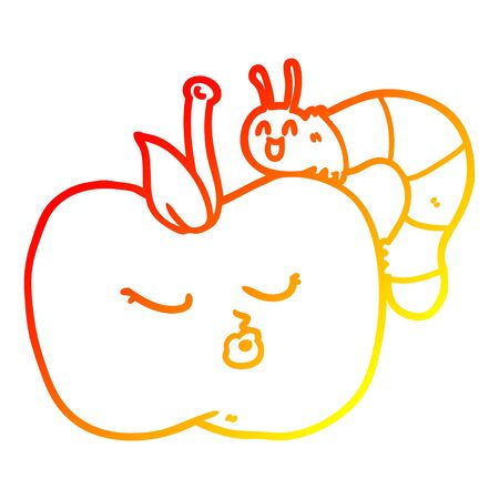 warm gradient line drawing of a cartoon pretty apple and bug
