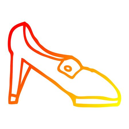 warm gradient line drawing of a cartoon shoe