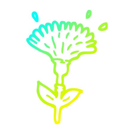 cold gradient line drawing of a cartoon dandelion opening Ilustracja