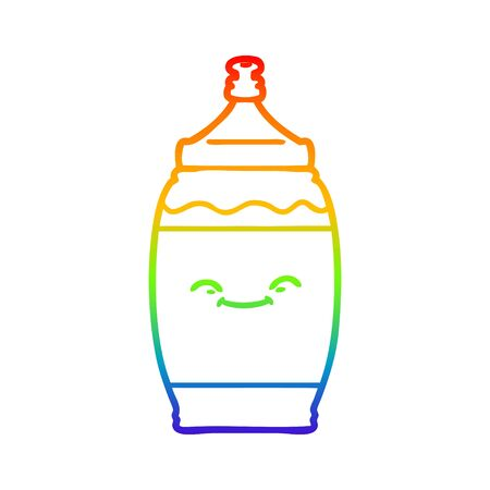rainbow gradient line drawing of a cartoon happy water bottle