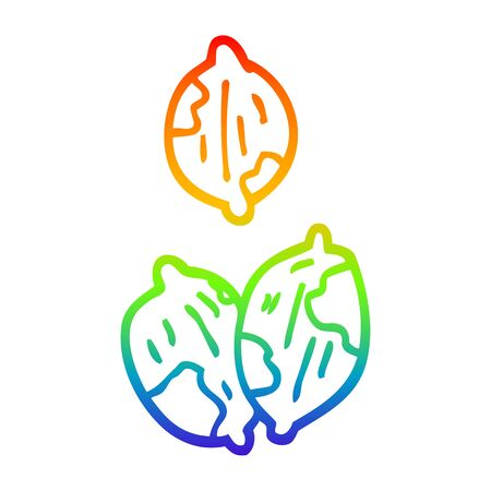 rainbow gradient line drawing of a cartoon nuts in shells
