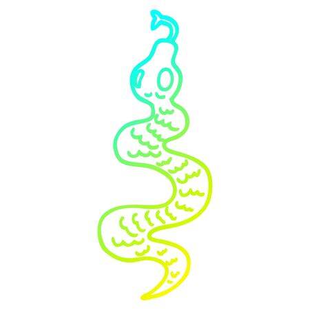 cold gradient line drawing of a cartoon green snake