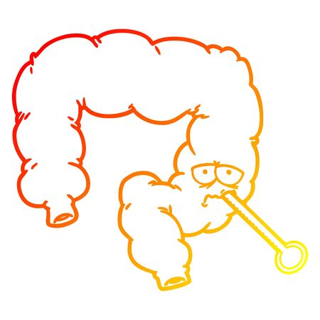 warm gradient line drawing of a cartoon unhealthy colon Ilustracja