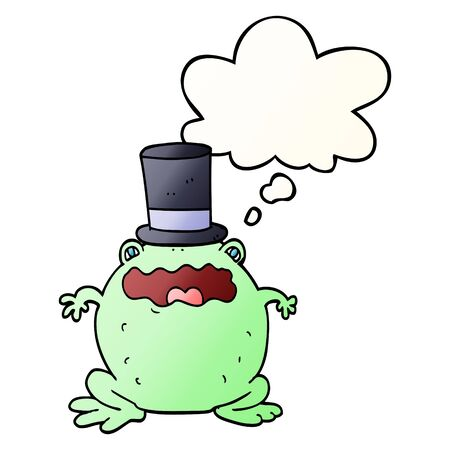 cartoon toad wearing top hat with thought bubble in smooth gradient style Banco de Imagens - 128326234