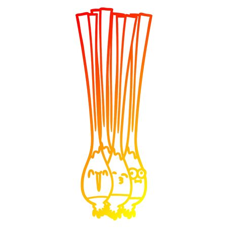 warm gradient line drawing of a spring onions