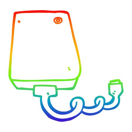 rainbow gradient line drawing of a cartoon hard drive Illustration